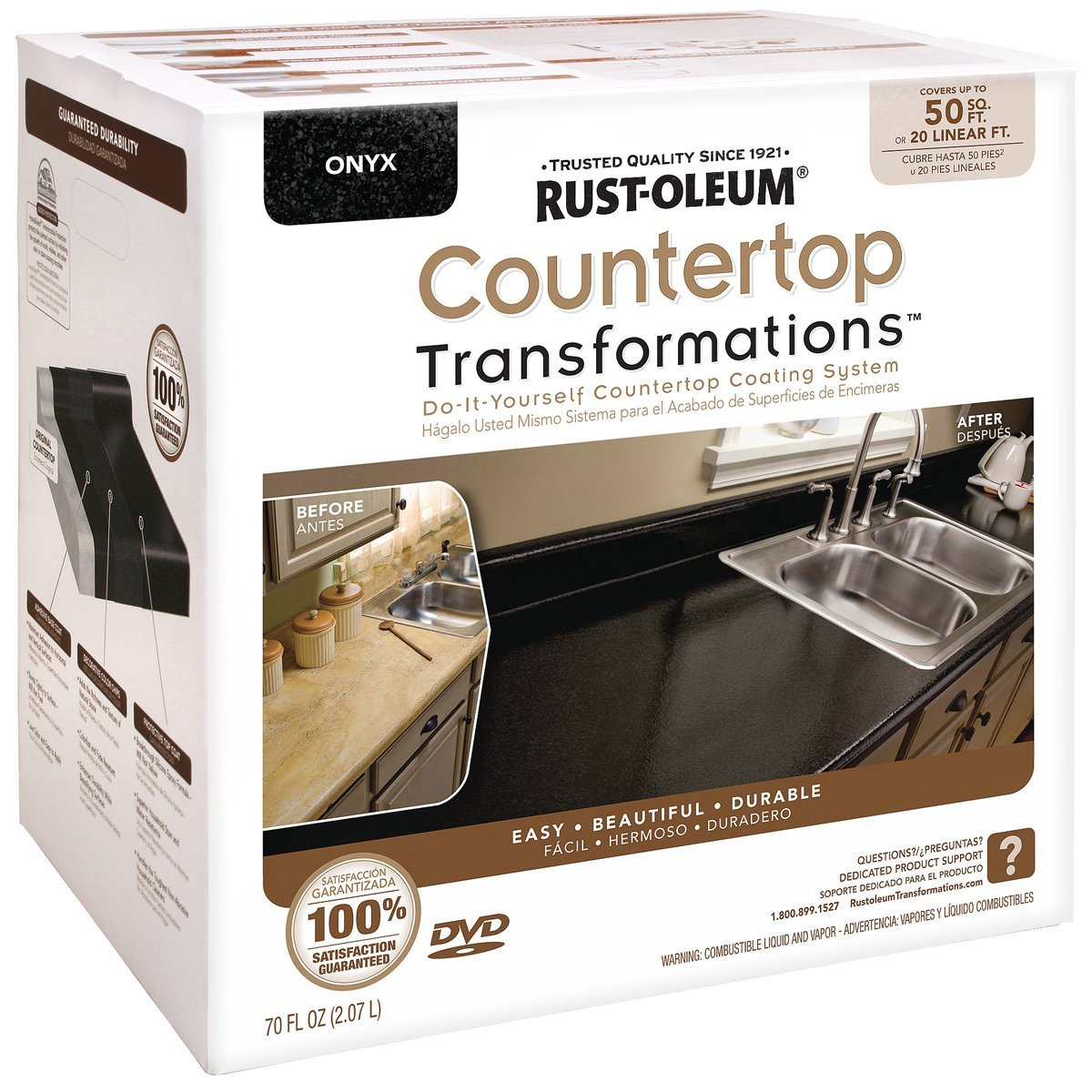 Rustoleum 258284 Onyx Countertop Transformations Kit Covers 500 Sq Ft  #906E3B