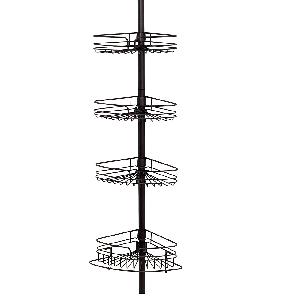 interdesign 42671 york bronze shower bath tension pole caddy 5 to 9 tall. Black Bedroom Furniture Sets. Home Design Ideas