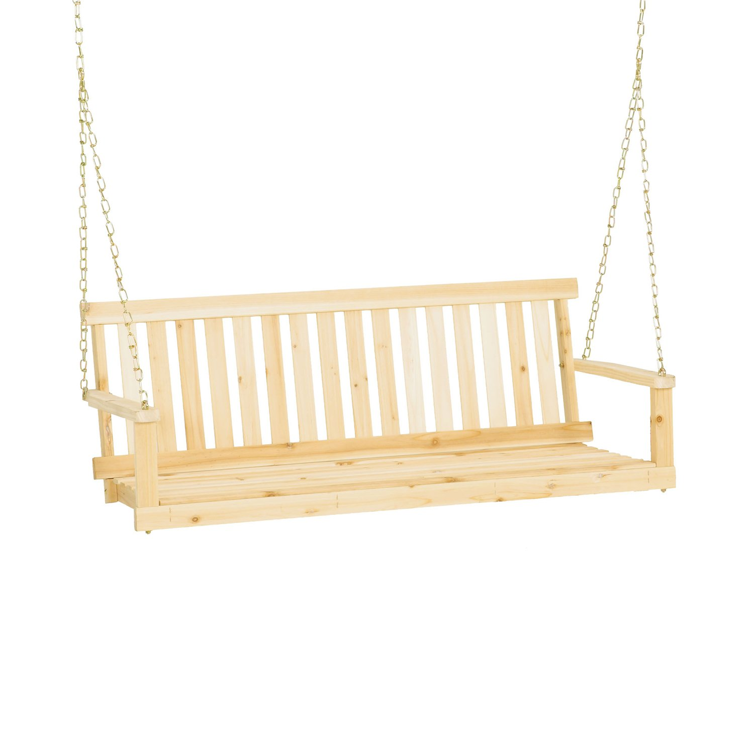 Jennings H 24 Traditional 4 39 Wooden Outdoor Porch Swing W Chain Hanging Kit Ebay