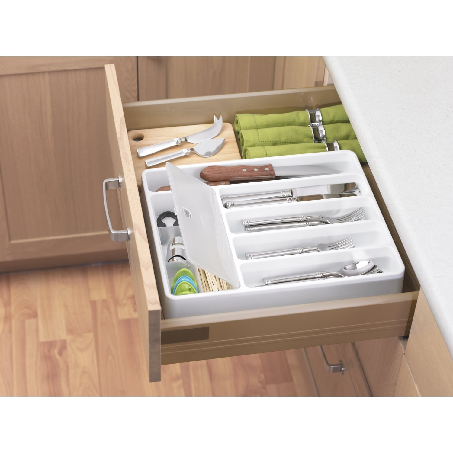 Progressive dcfb 1215 flatware organizer caddy with for Box for flatware storage