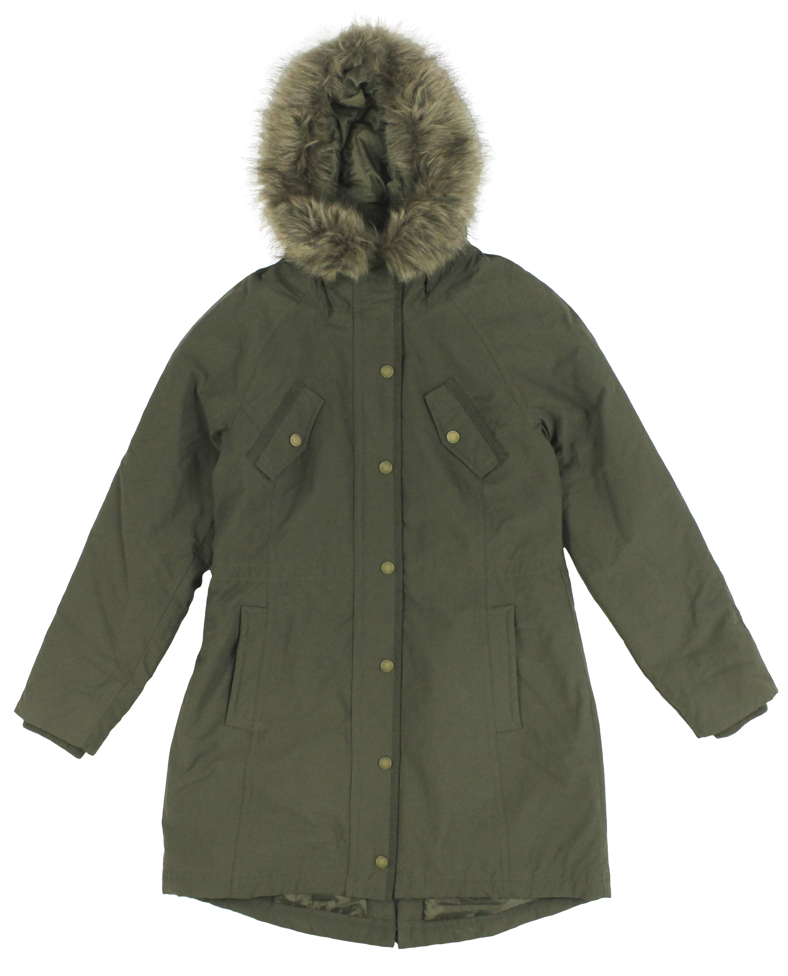 tommy hilfiger women 39 s faux fur trim hooded parka olive. Black Bedroom Furniture Sets. Home Design Ideas