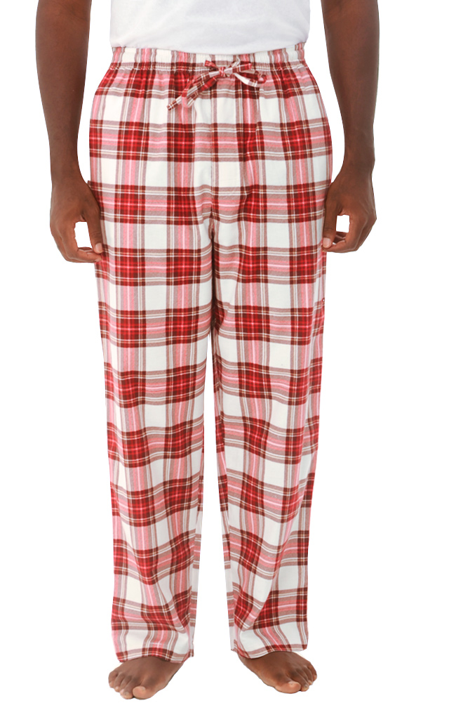 Buy mens loungewear - Del Rossa Men\'s Flannel Pajama Pants - 100% Cotton Loungewear (Red Plaid - Large)