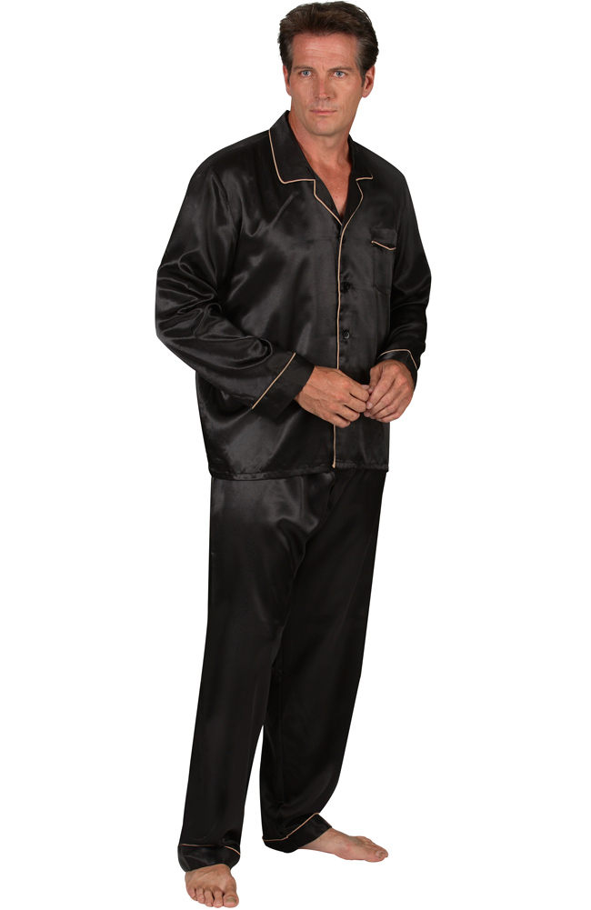Buy mens satin sleepwear - Del Rossa Men\'s Satin Pajama Set - Matching Sleep Mask (Black - Large)