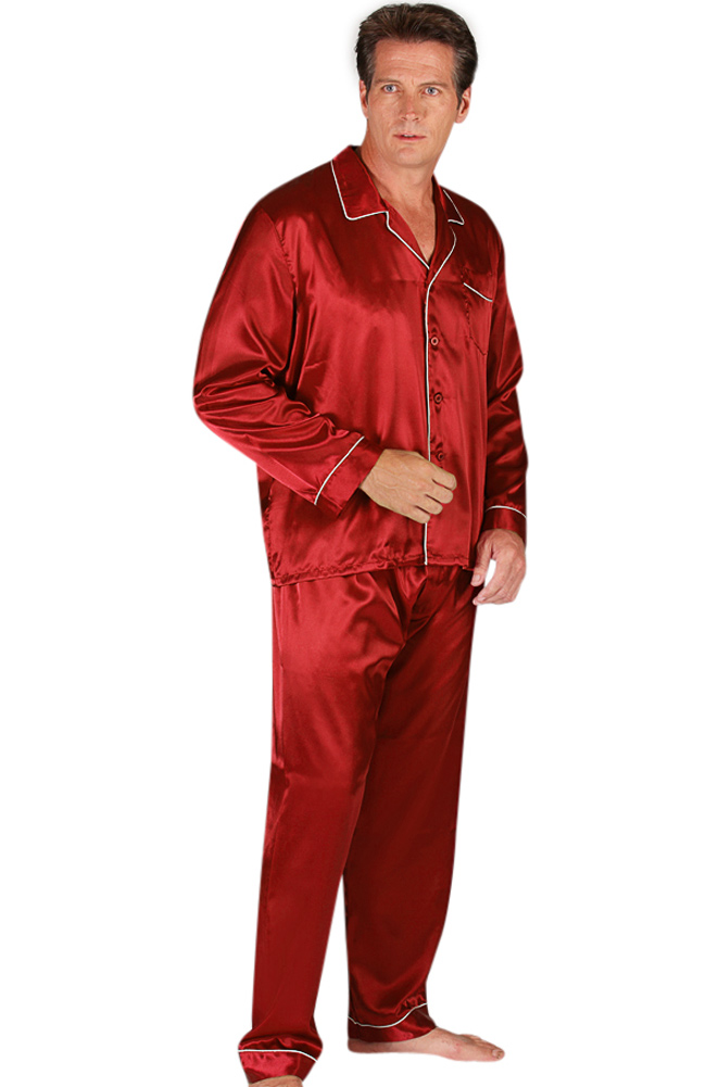 Buy mens satin sleepwear - Del Rossa Men\'s Satin Pajama Set - Matching Sleep Mask (Burgundy - 3XL)