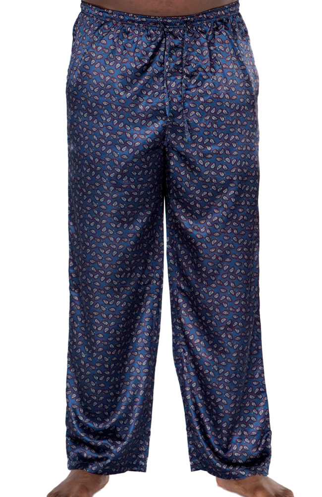 Buy mens satin sleepwear - Del Rossa Men\'s Satin Pajama Pants - Loungewear (Paisley Print on Blue - Large)
