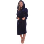 Women's Fleece Robe, 14 oz Hooded Bathrobe