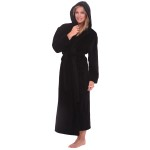 Women's Fleece Robe, Long Hooded Bathrobe