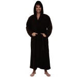 Men's Fleece Robe, Long Hooded Bathrobe