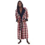 Woven with Terry Cotton Lining Full Length Hooded Bathrobe Robe