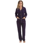 Women's Fleece Pajamas, Long Button Down Pj Set