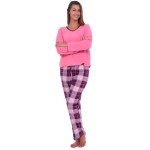 Women's Fleece Pajamas, Long V-Neck Pj Set