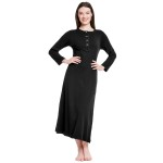 Women's Cotton Knit Nightgown, Long Henley Sleep Dress