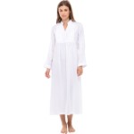 Women's Guinevere Cotton Nightgown, Long Poplin Victorian Sleepwear
