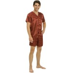 Men's Satin Pajamas, Short V-Neck Pj Set