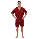 Men's Cotton Pajamas, Short V-Neck Woven Pj Set