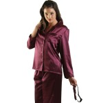 Women's Satin Pajamas, Long Button-Down Pj Set and Mask