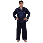 Men's Satin Pajamas, Long Button-Down Pj Set