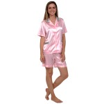 Women's Satin Pajamas, Short Sleeve Pj Set
