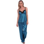 Women's Satin Pajamas, Long Lace Trim Cami Top Pj Set
