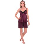 Women's Satin Pajamas, Short Lace Trim Cami Top Pj Set