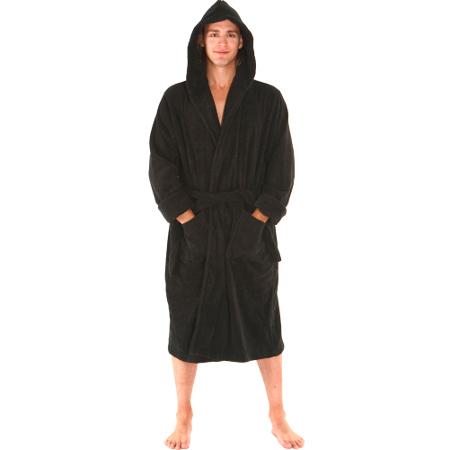 Men's Luxurious Terry Cotton Hooded Bathrobe, Full cut 18-ounce, 100% Cotton