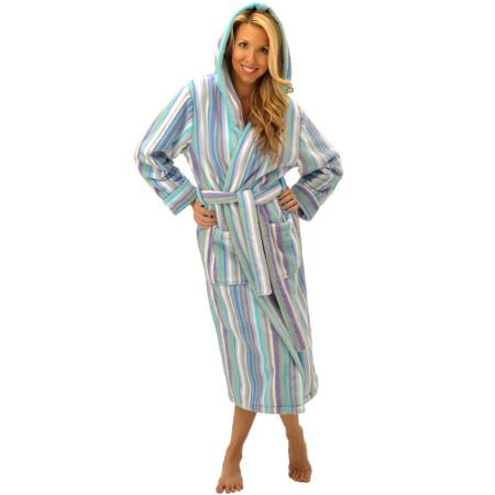 Women's White Candy Striped Hooded Bathrobe, 14 oz Water Absorbent Fleece