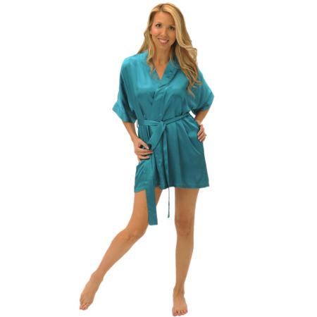 Women's Short Classic Satin Lounge Robe