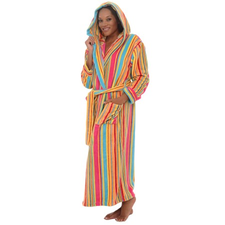 women's fleece robe | long hooded bathrobe | del rossa