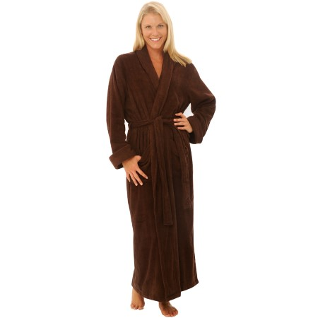 Del Rossa Women's Terry Cloth Cotton Hooded Full Length Bathrobe
