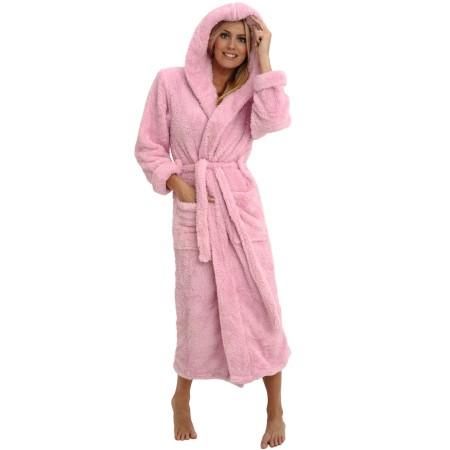 Women S Fleece Robe Long Plush Hooded Bathrobe Del Rossa