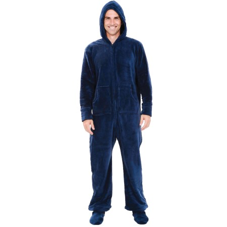 Footed Pjs With Hood Men 39 s Hooded Footed Fleece