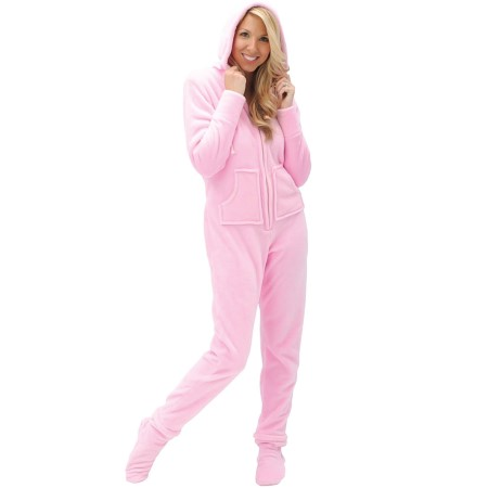 Footed Pjs With Hood Women 39 s Hooded Footed Fleece