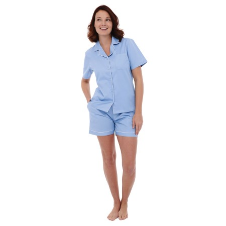 Women's Cotton Pajamas | Short Button Down Woven Pj Set | Del Rossa