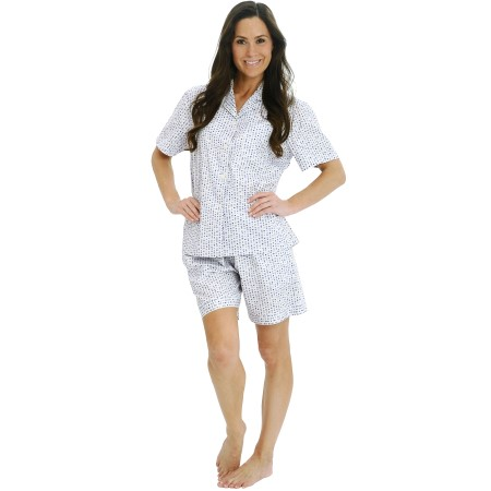 Women's Woven Pajamas | Short Button Down Cotton Pj Set | Del Rossa