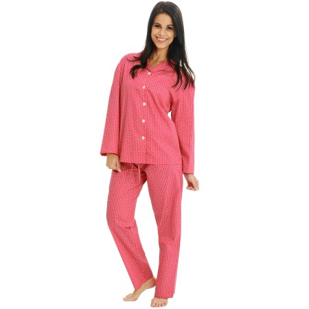 Women's Cotton Pajamas | Long Woven Pj Set | Del Rossa
