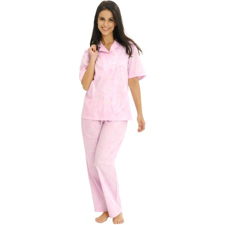 Women's Cotton Pajamas | Woven Pj Set with Pants | Del Rossa