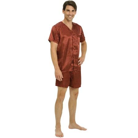 Men's Satin Pajama Set | Lightweight Short Pjs | Del Rossa