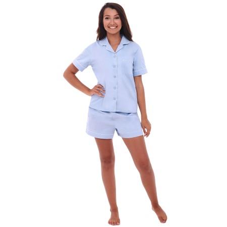 Womens's Cotton Pajama Set | Woven Cotton Button Up Pjs | Del Rossa