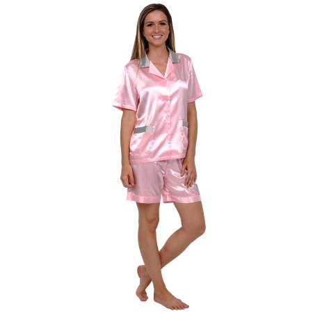 Women's Short Satin Pajamas | Ladies Pj Set | Del Rossa