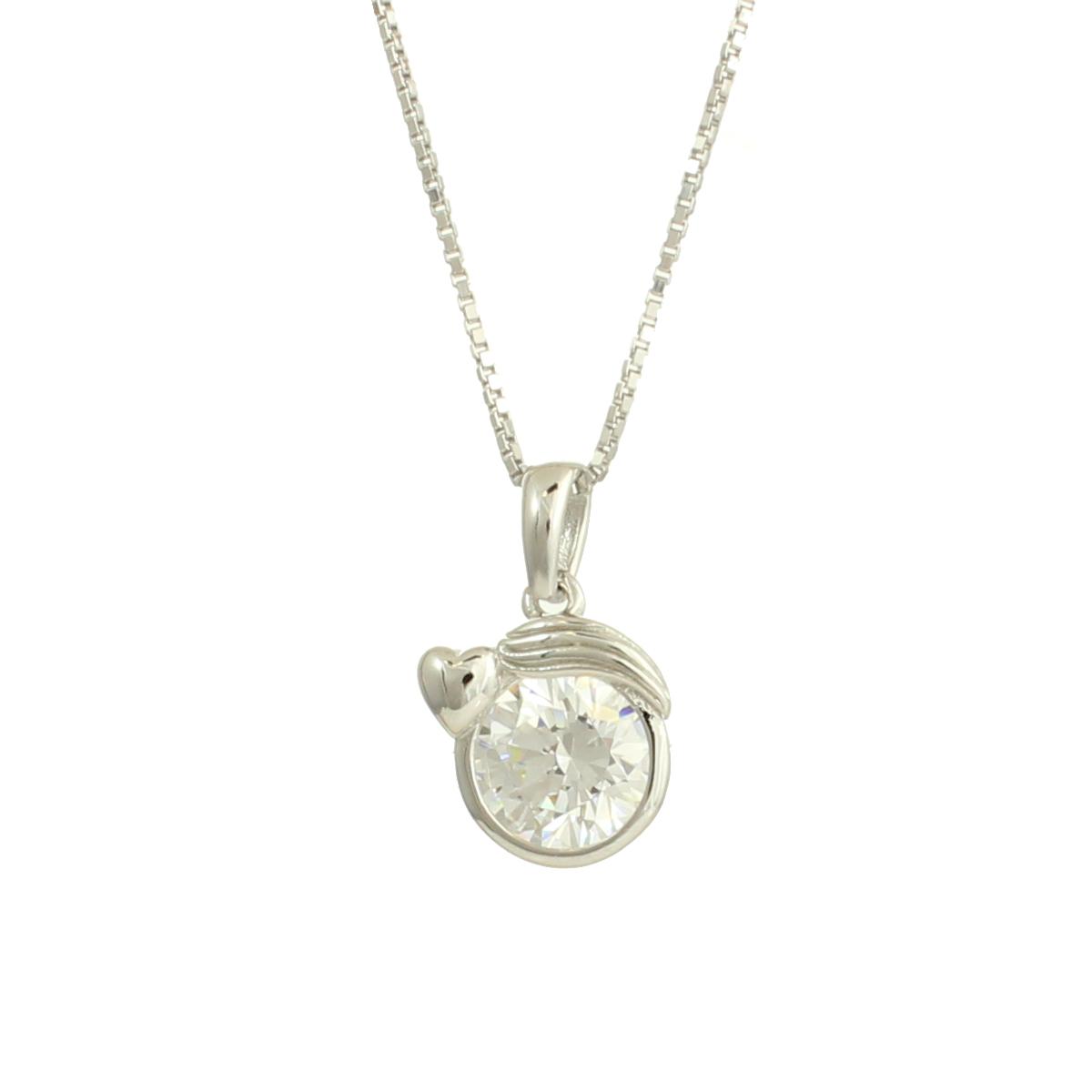 Rhodium Plated 925 Sterling Silver Swarovski Cubic Zirconia Zodiac Virgo Fashion Pendant Necklace