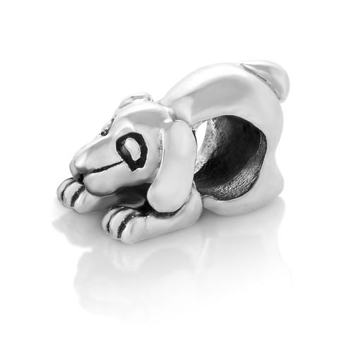 925 Sterling Silver Beagle Dog Puppy Bead Charm Fits Pandora Bracelet