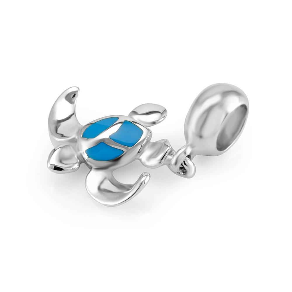 925 Sterling Silver Blue Enamel Sea Turtle Dangle Bead Charm Fits Pandora Bracelet