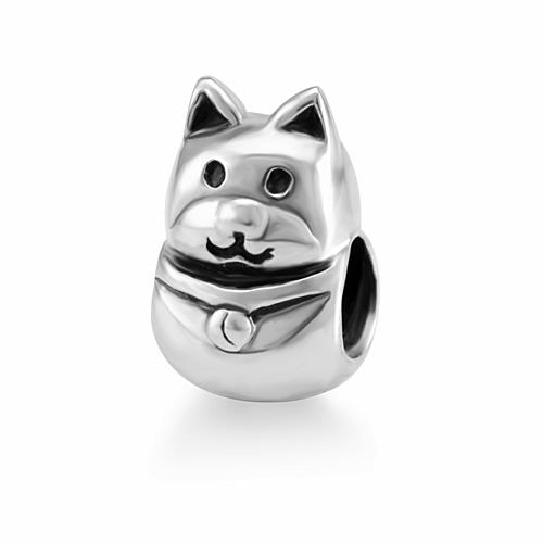 925 Sterling Silver Cute Smiling Cat Bead Charm Fits Pandora Bracelet