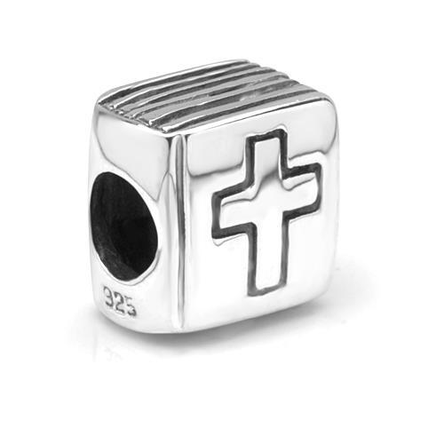 925 Sterling Silver Holy Bible Cross Bead Charm Fits Pandora Bracelet