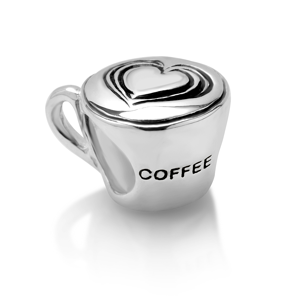 925 Sterling Silver Heart Coffee Cup Bead Charm Fits