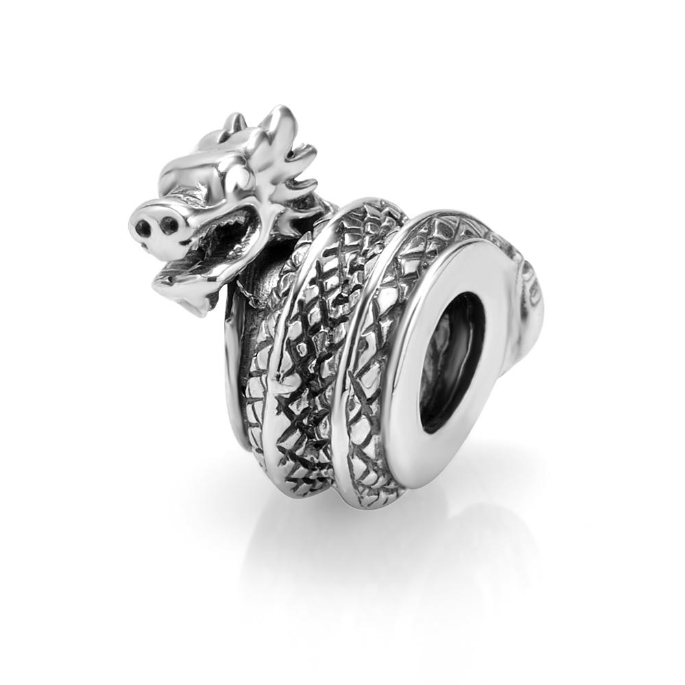 925 Sterling Silver Dragon Bead Charm Fits Pandora Bracelet