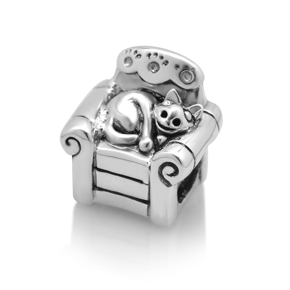 925 Sterling Silver Lazy Cat on Sofa Bead Charm Fits Pandora Bracelet