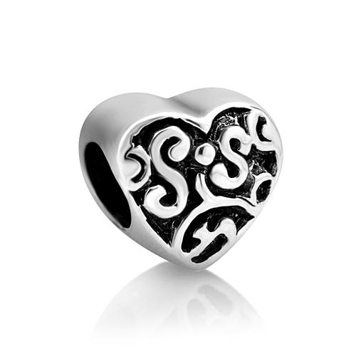 925 Sterling Silver Sister Love Heart Bead Charm Fits Pandora Bracelet