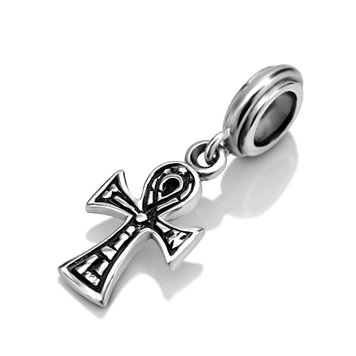 925 Sterling Silver Hieroglyphic Ankh Cross Dangle Bead Charm Fits Pandora Bracelet