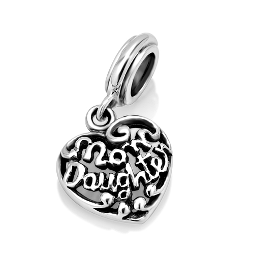 925 Sterling Silver Heart Mom Daughter Dangle Bead Charm Fits Pandora Bracelet